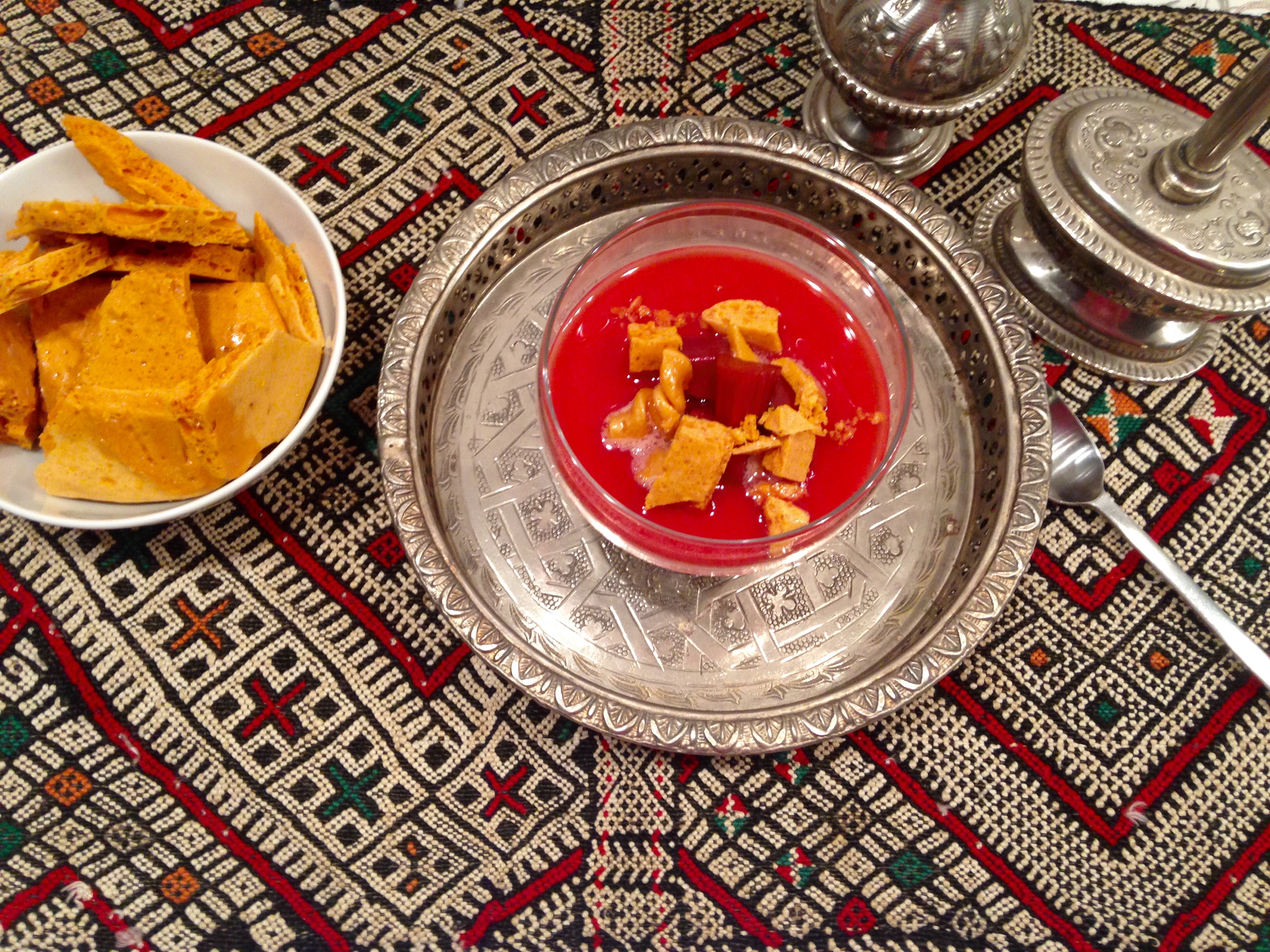 Gelée de yaourt rhubarbe et honeycomb