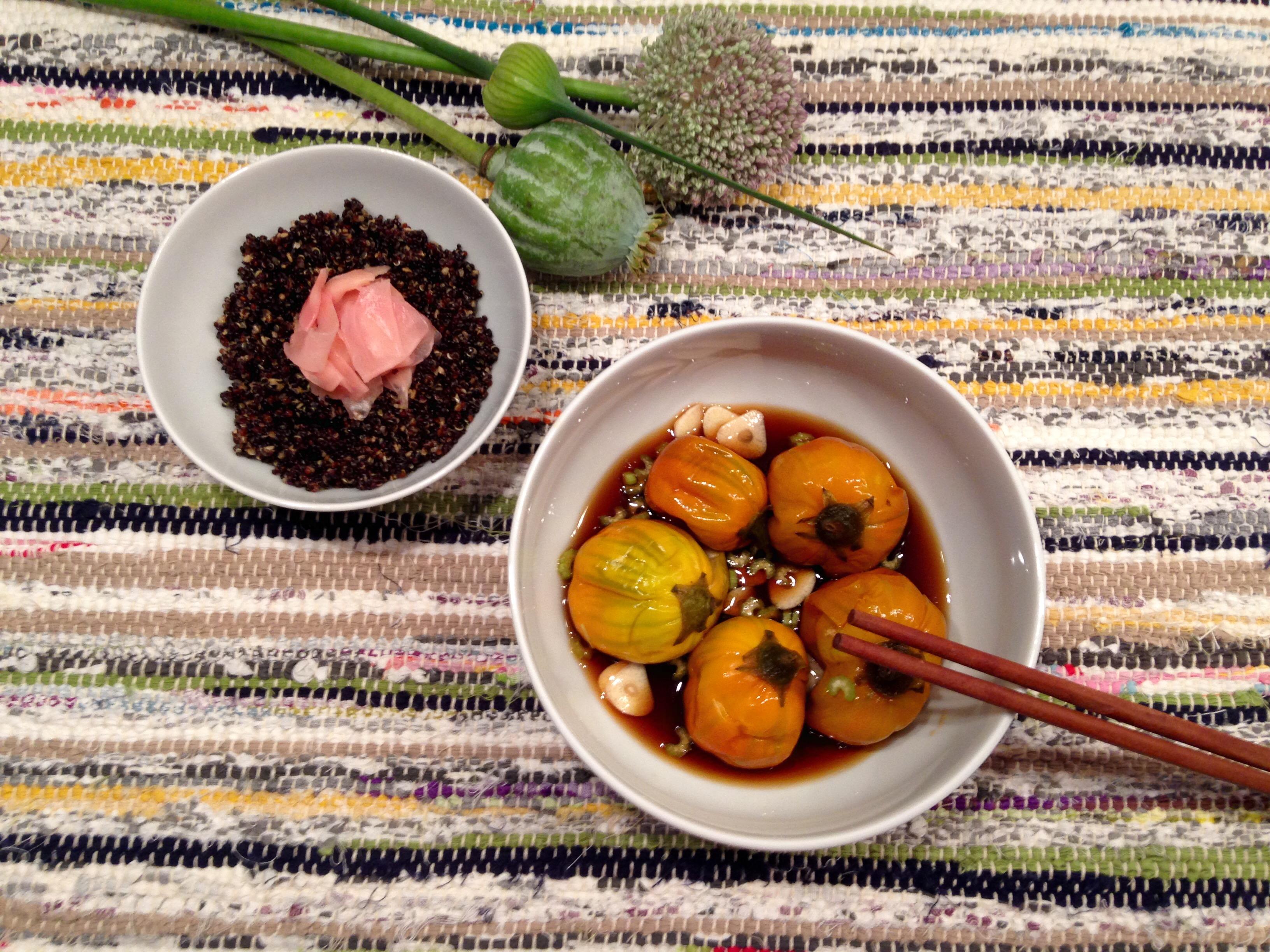 Aubergines coréennes au bouillondashi, Quinoa au miso