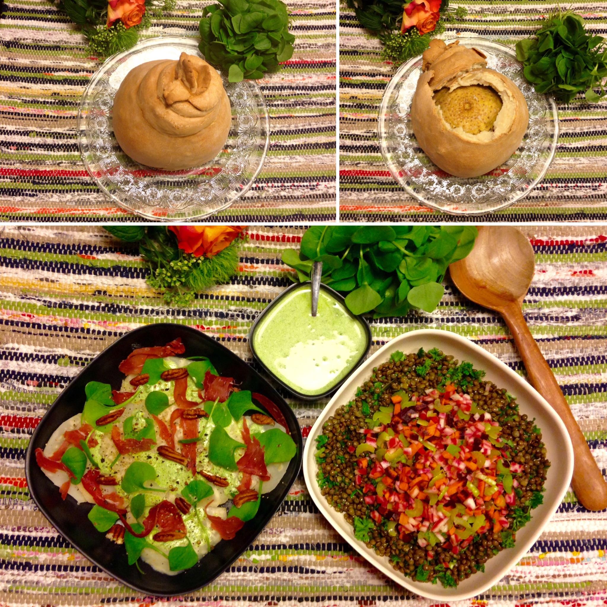 Céleri rave en croûte de sel, salade de lentilles  et vinaigrette à la claytone de cuba (pourpier d'hiver)