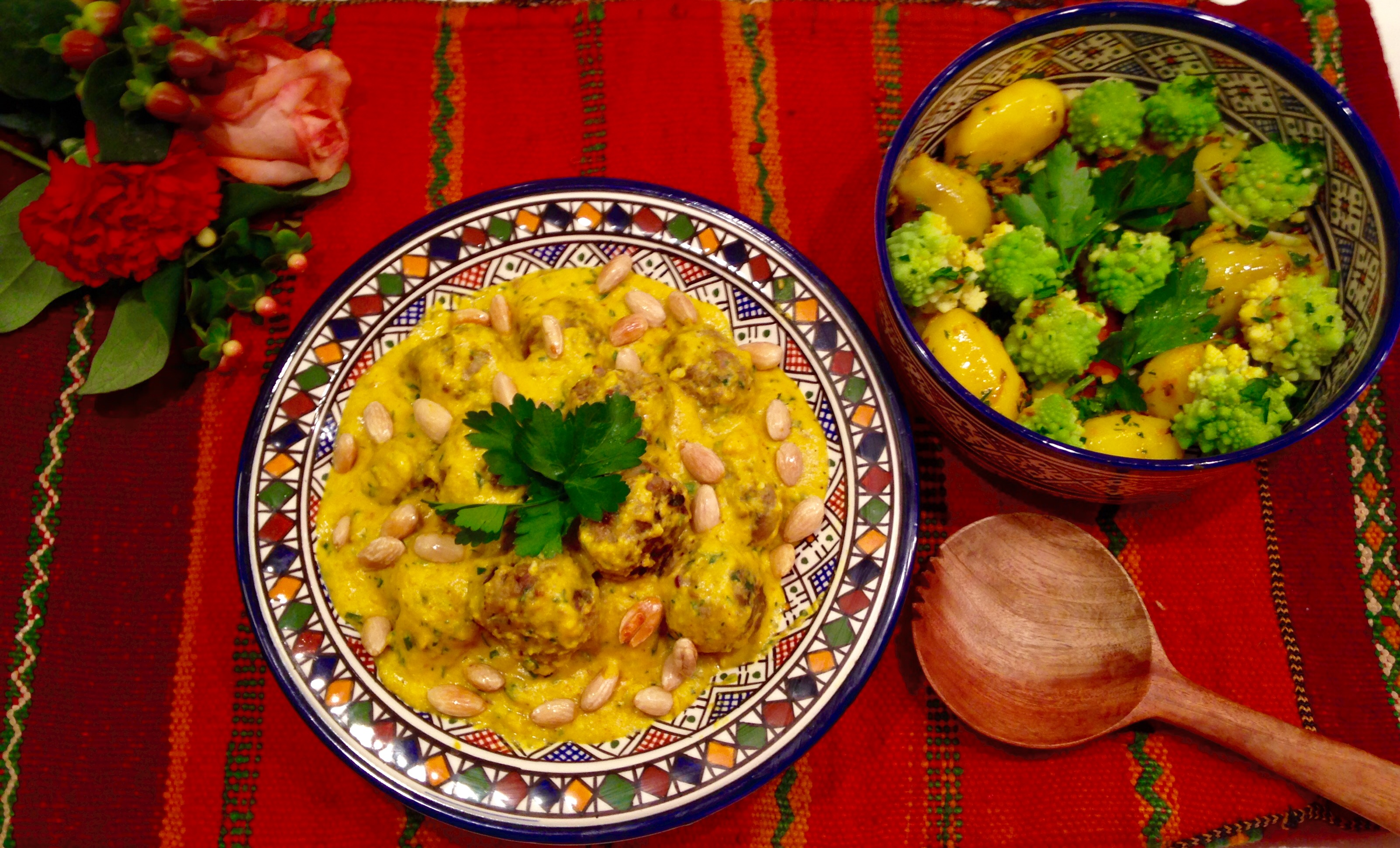 Boulettes sauce safran et amandes