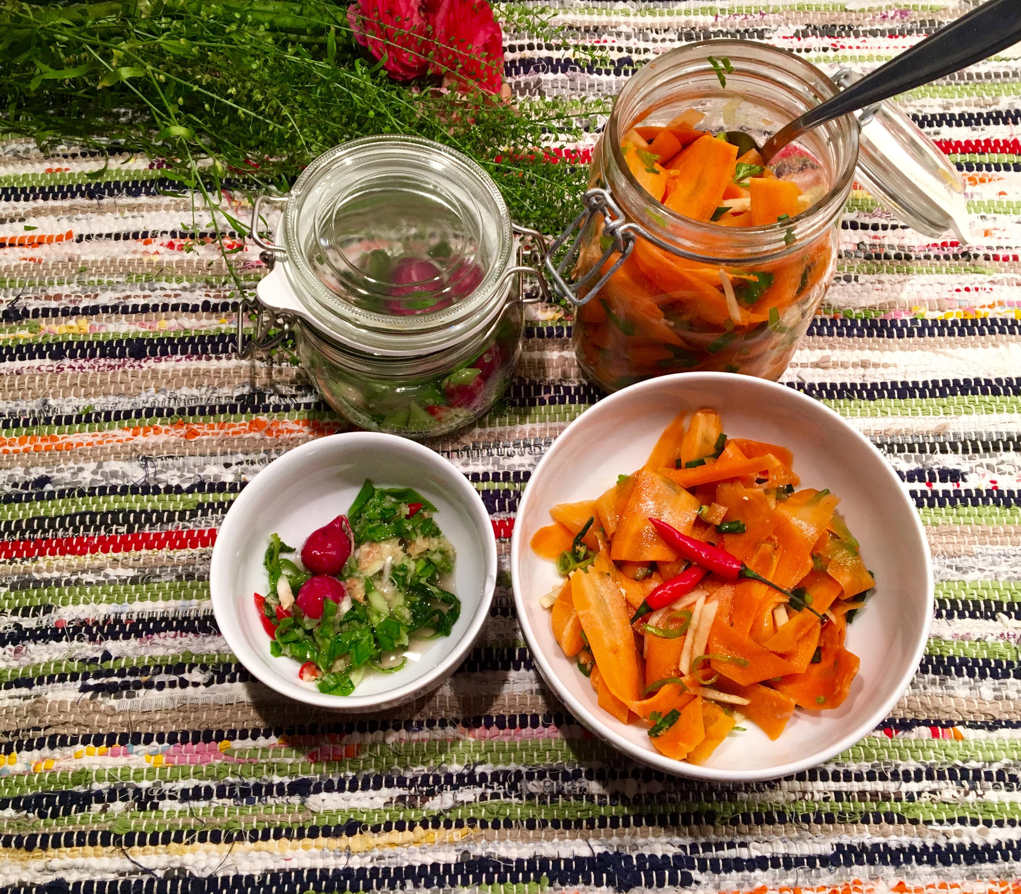 kimchi carottes et radis rouges