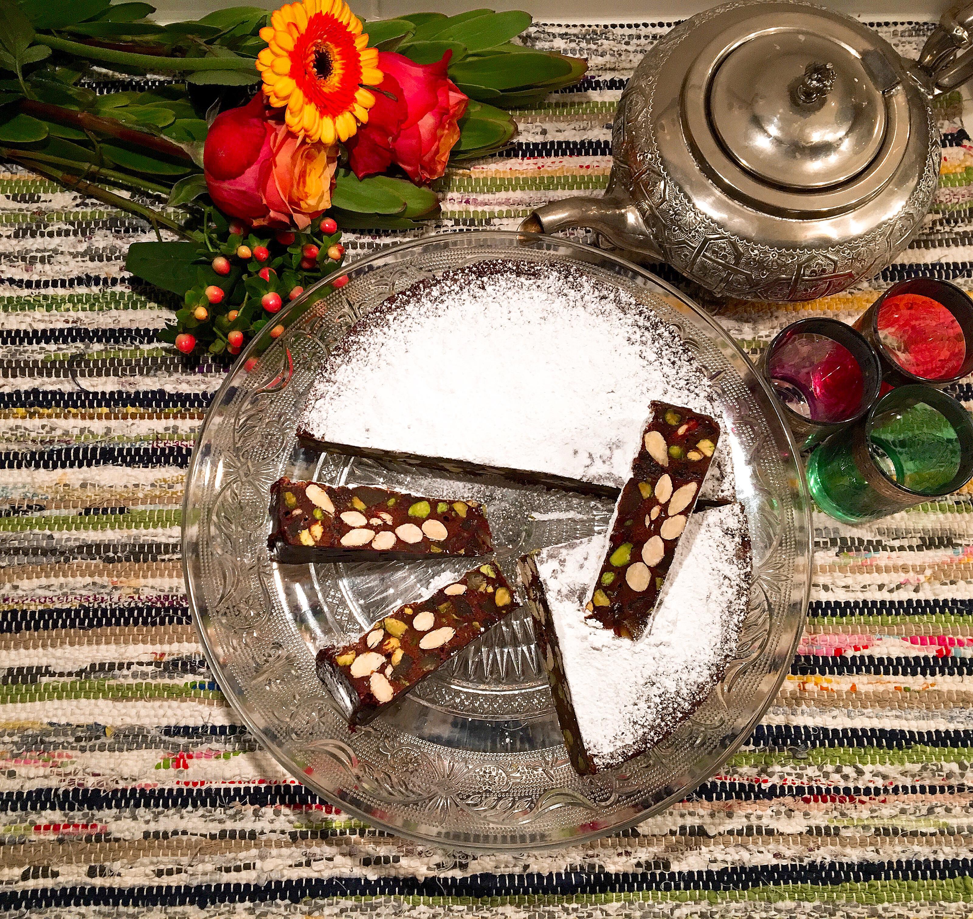 Panforte au chocolat, pistaches et gingembre confit