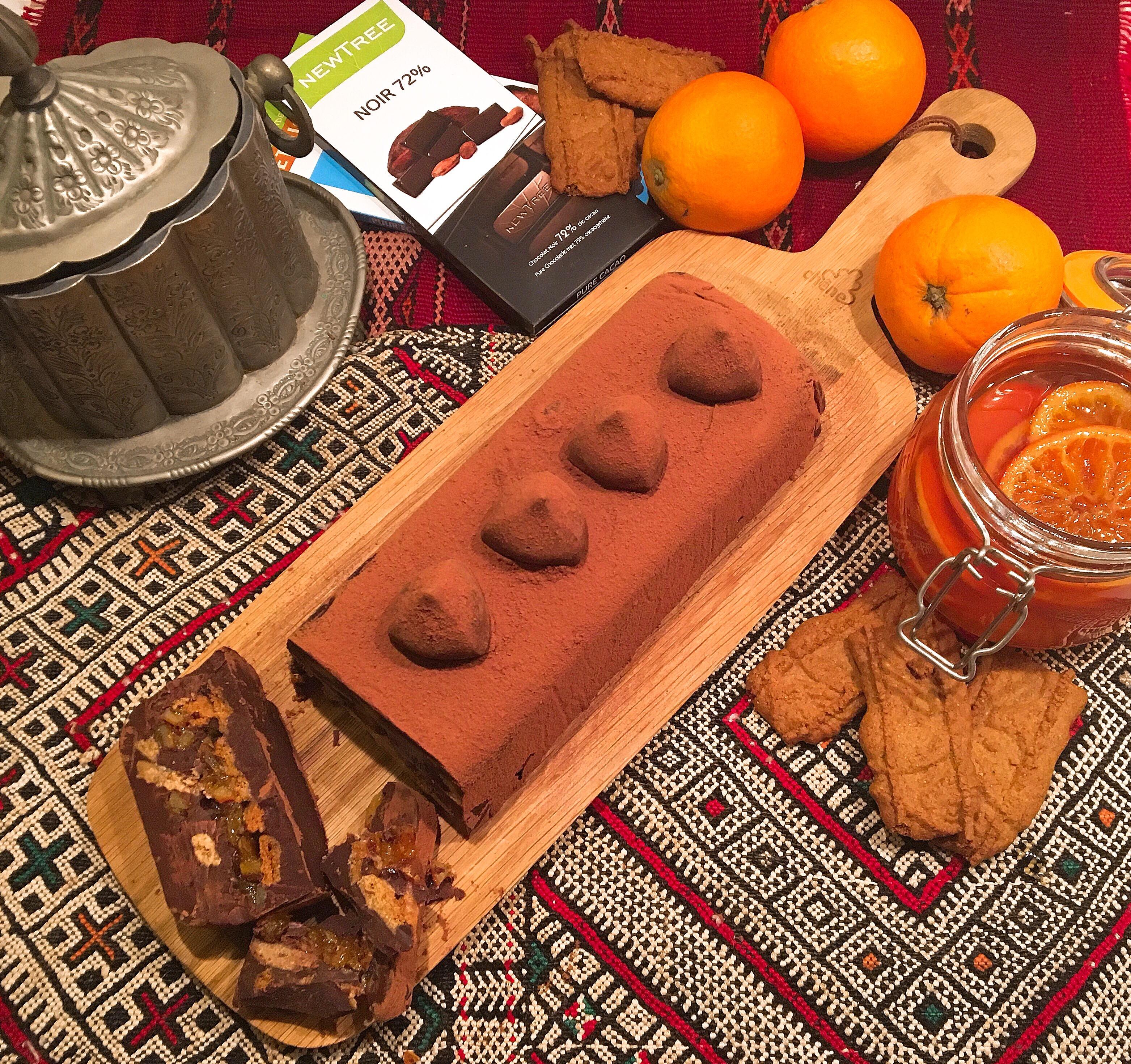 Oranges confites en terrine de chocolat et Spéculoos