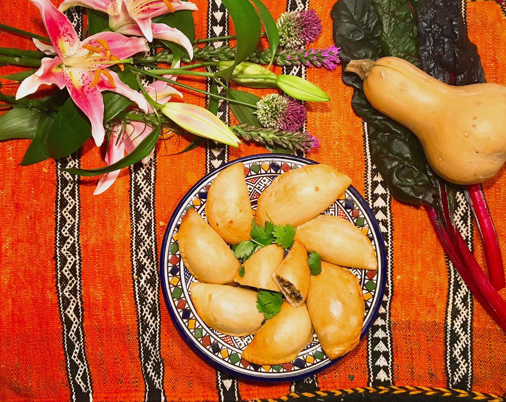 Sambouseks aux bettes,à la butternut et au fromage
