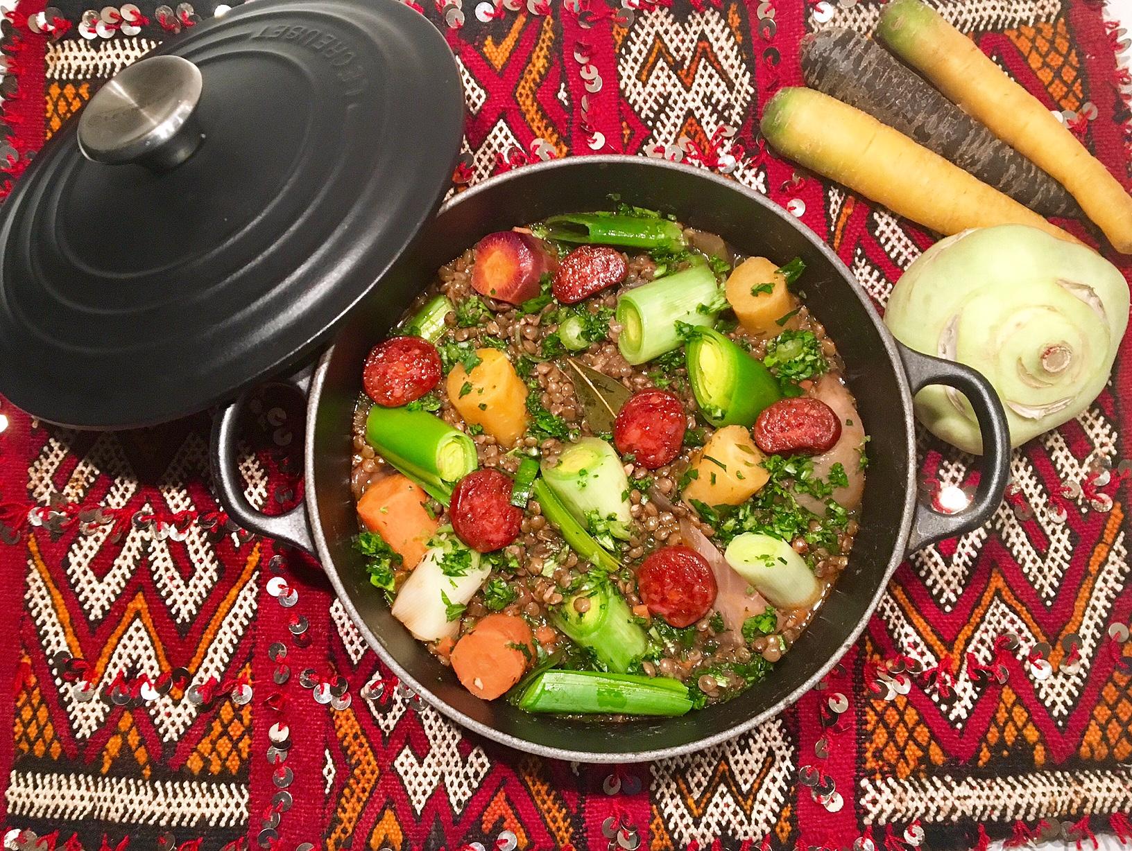 Cocotte de lentilles aux légumes d'automne et au chorizo