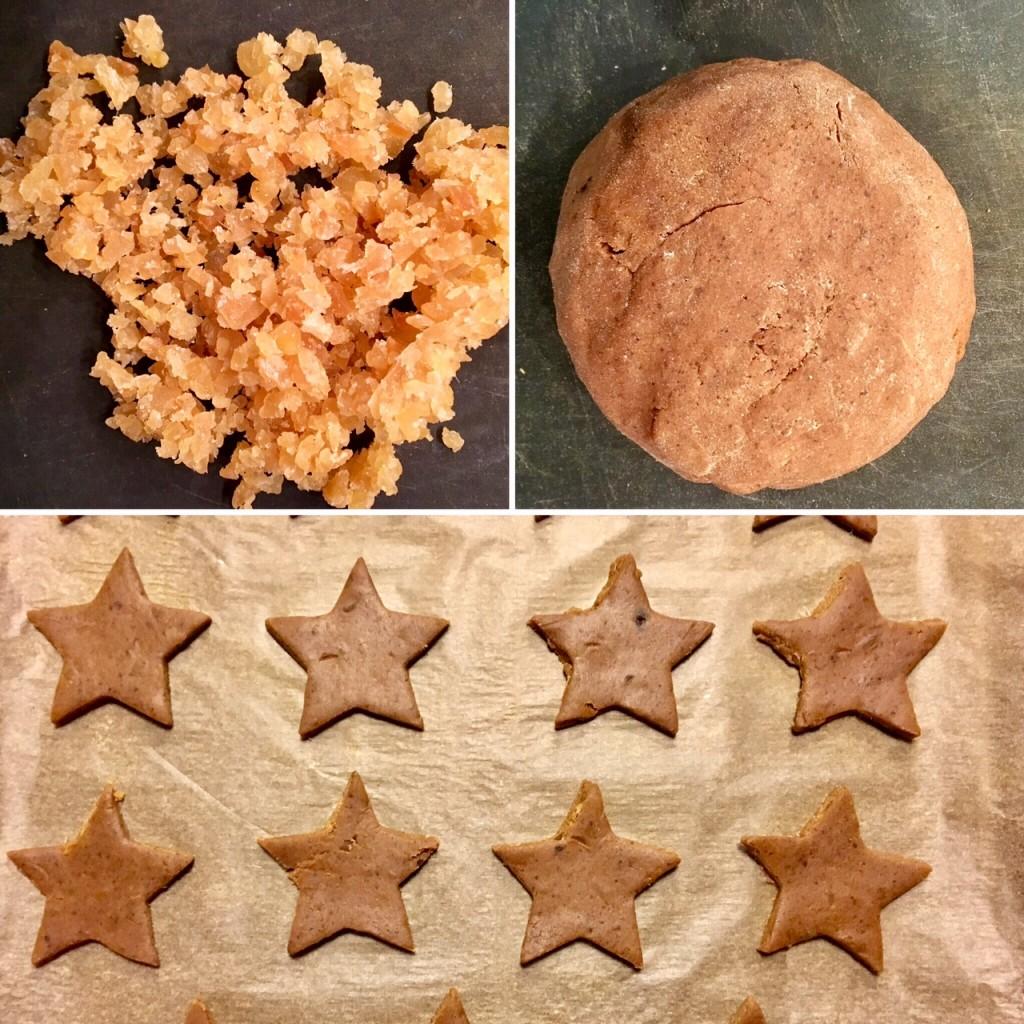 Gingembre cristallisé haché, pâte avant cuisson, et des étoiles prêtes à enfourner! (parce que foule sentimentale, attirée par les étoiles toussa toussa)