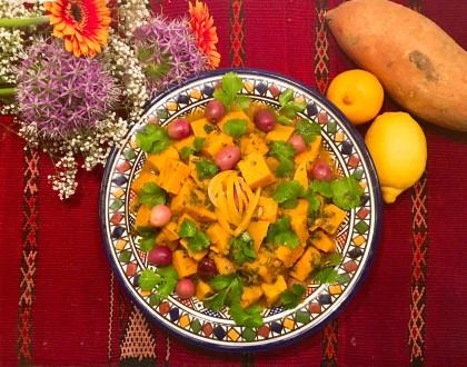 Ragoût de patates douces au citron confit et aux olives