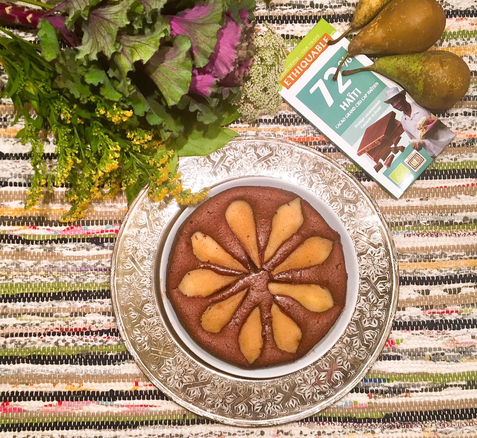 Gâteau fondant aux amandes, chocolat et poires