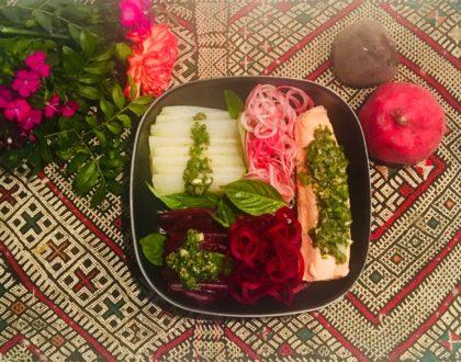 Vapeurs de raves et de poisson, sauce aux agrumes, anchois et câpres