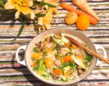 Blanquette de veau aux légumes racines et à l'orange