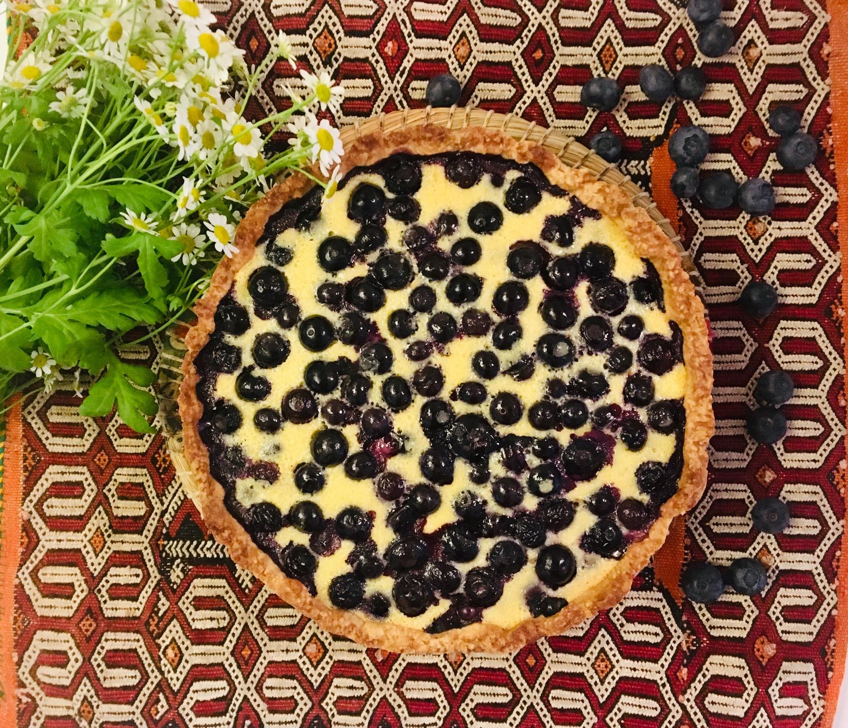 Tarte aux myrtilles et aux pistaches