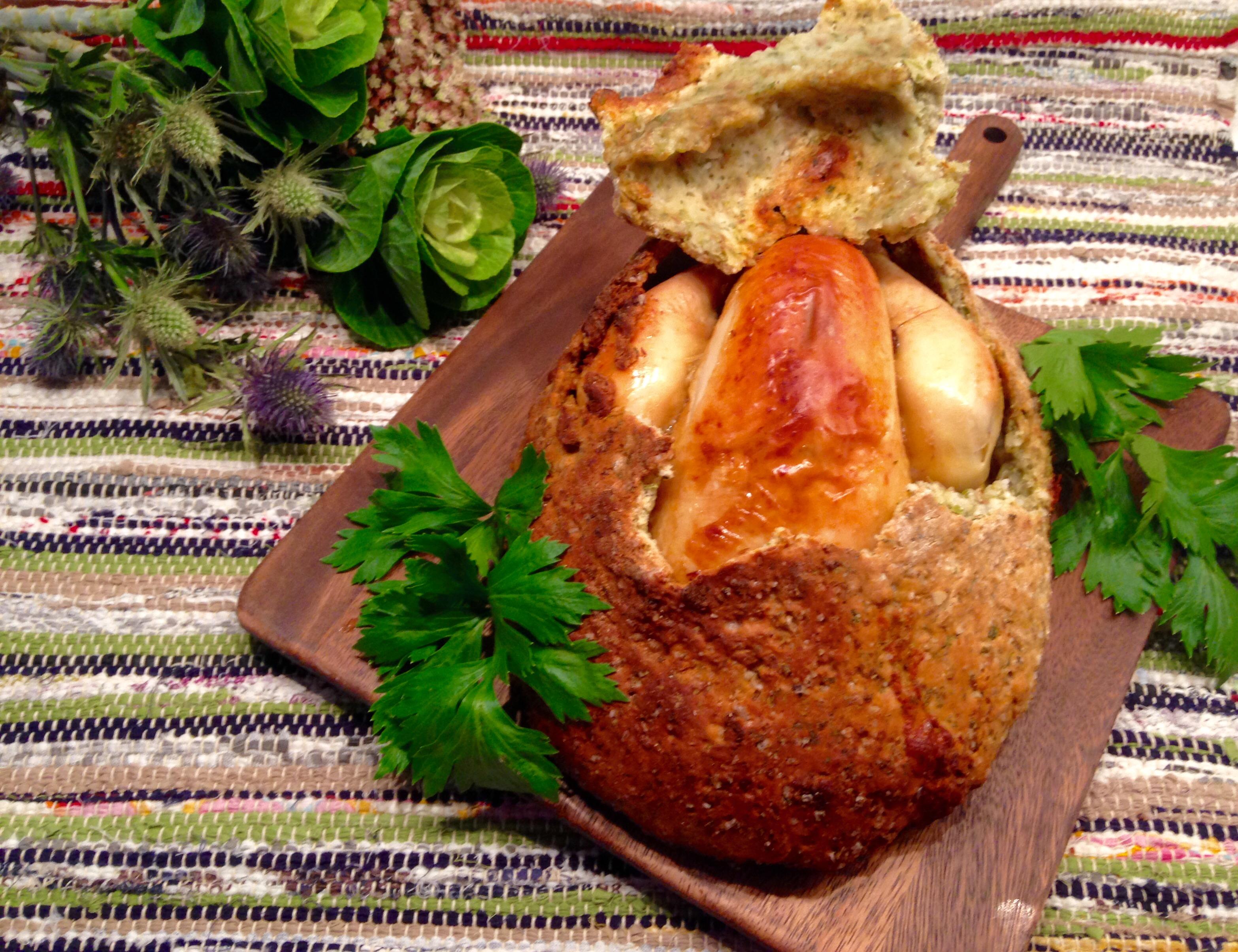 Poulet du dimanche en croûte de sel, céleri vert et cumin