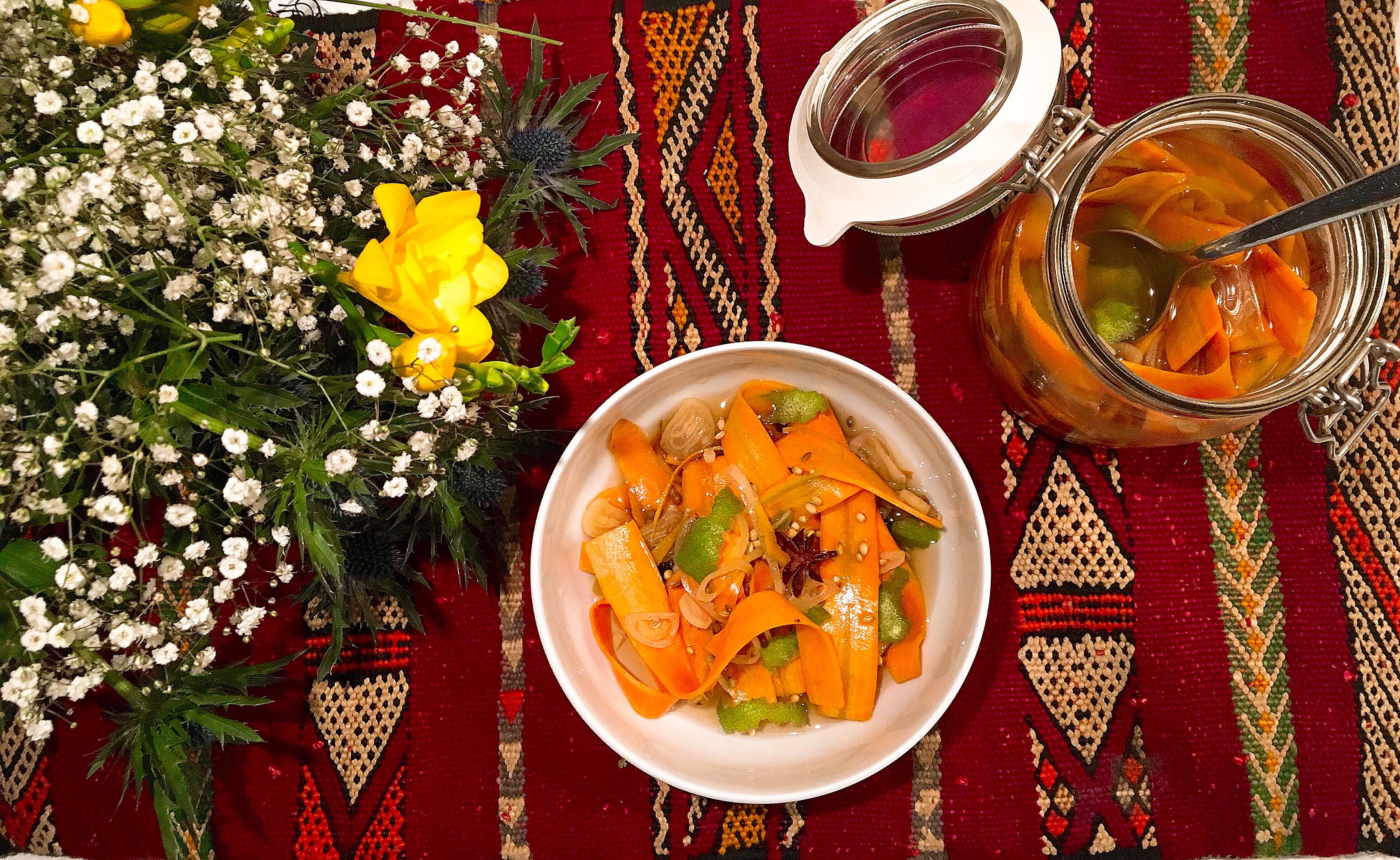 Pickles de carottes aux agrumes et aux épices douces