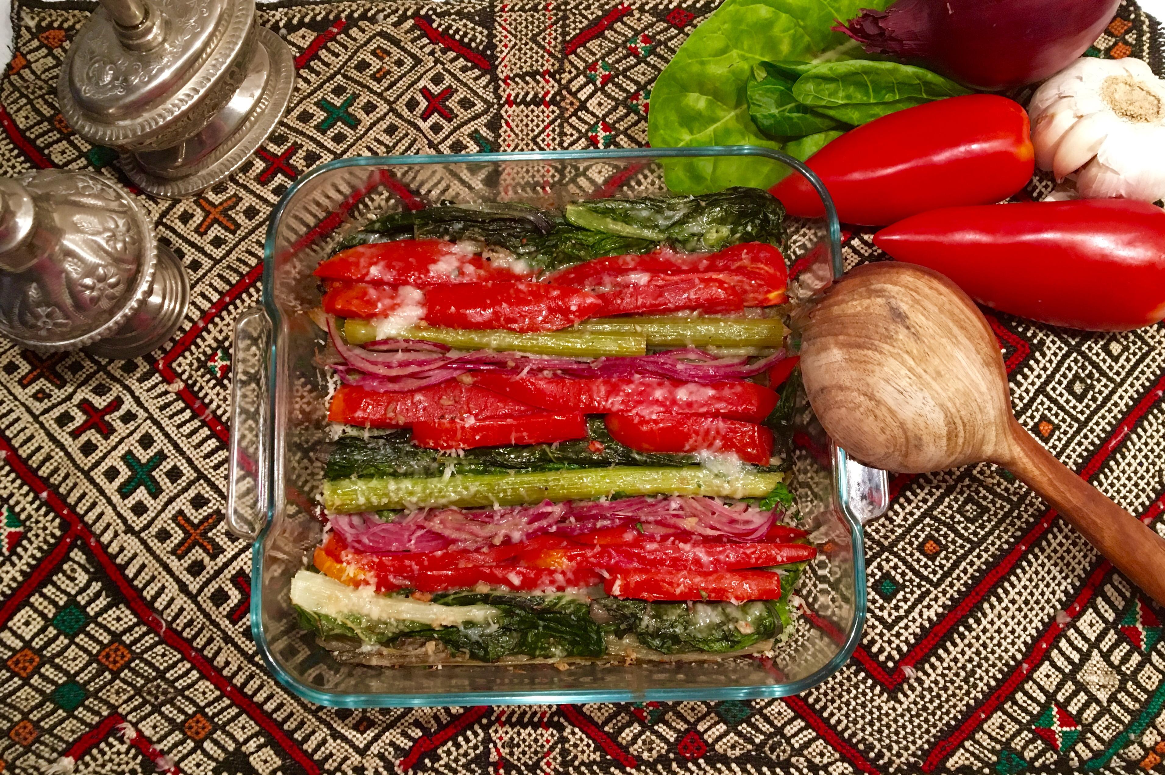 Bettes humbles aux tomates, oignons , anchois et parmesan
