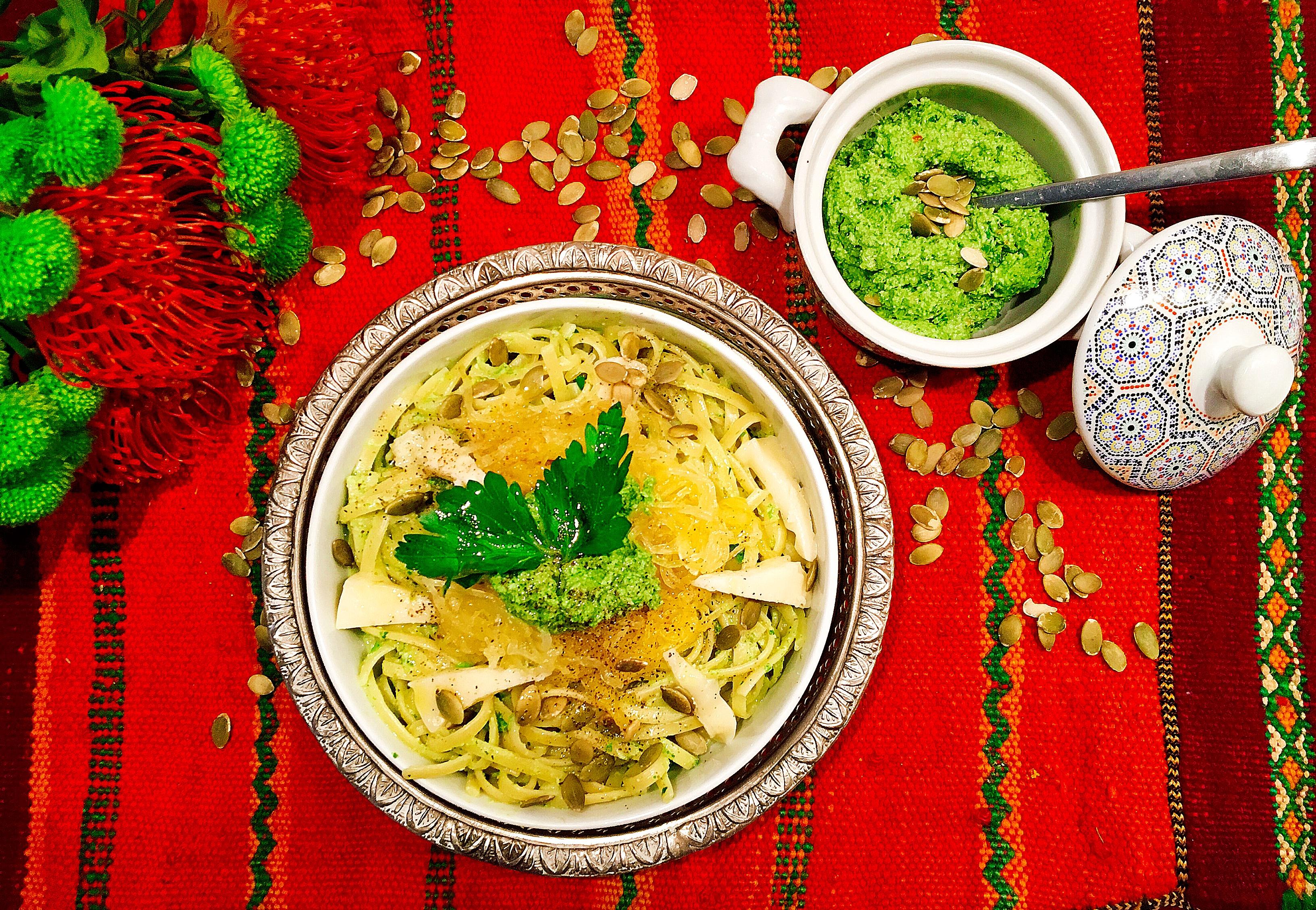 Pesto de graines de courges, pasta à la courge spaghetti