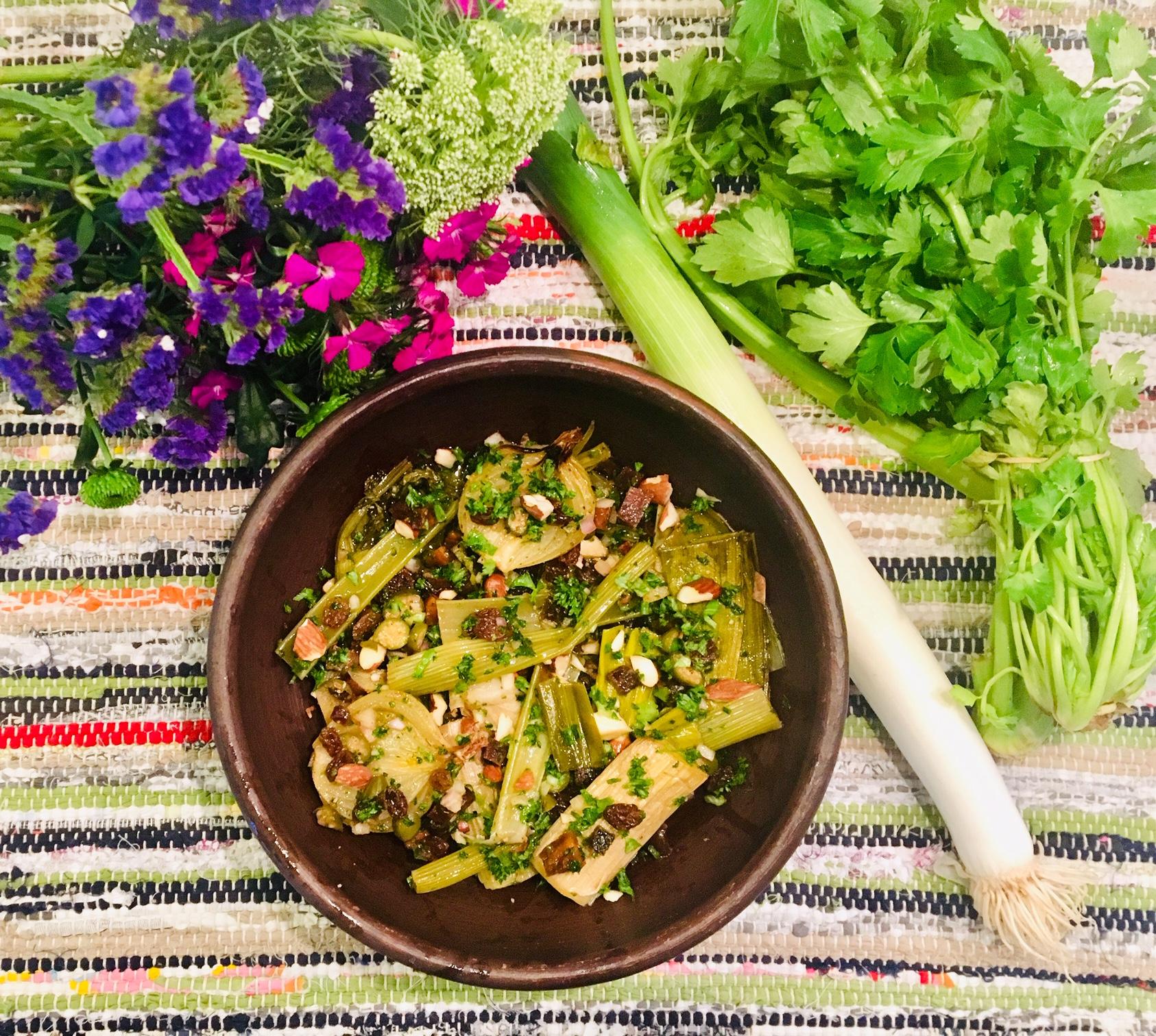 Poireaux, céleri vert et oignons agrodolce